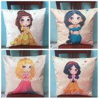 belle knitted - Baby Girl Princess Pillow Cases Cartoon Mermaid Ariel Cushion Cover Princess Snow White Belle Jasmine Printing Pillow Covers Kid Best Gift