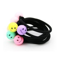 Wholesale 300pcs Smile Face Elastic Head Tie Cute Emoji Smiling Face Hair Band Rubber Band Girls Hair Accessories for Women Headwear ZA1006