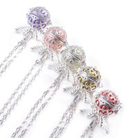 Wholesale Silver Mix Assort Colors Pregnancy Ball Chime Ball Cage Locket Pendant For Mothers to be With cm Chain
