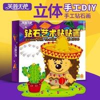Wholesale Lotus Angel children stickers DIY Handmade stereo EVA crystal diamond paste painting painting toys