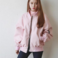 Wholesale 2016 Pink Bomber Jackets Women Hip Hop Quilted Womens baseball Coats Zipper Pockets Spring Jacket Women