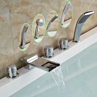 bath brush with long handle - Deck Mounted Bathroom Widespread Long Waterfall Spout Tub Mixer Faucet Bath Tub Faucet Set with Handshower