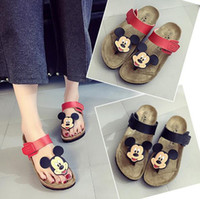 cartoon slippers - Cartoon Women Sandals Flip Flops Mickey Mouse Slippers Cork Flats Summer Shoes Women Flip Flops Flat Heel US