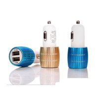 Cheap New Universal Dual USB Car Charger With Blue Light LED 3.1A Aluminium Alloy Car Charger For Cell Phone Table PC Factory sales Free shipping