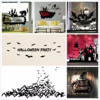 american home school - 30styles Wall Sticker Happy Halloween Festival Bat Cauldron Spider Witch Animals Windows Sticker For School Kids Rooms Home Party Decor Wall