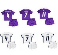 best shirt kid - Best quality Reals MADRIDES home Kids RONALDO BALE BENZEMA Kids soccer shirt Away purple SERGIO RAMOS KROOS childrens SHIRT