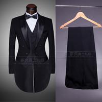 Wholesale Straight Wedding Dress Short Sleeves - Wholesale-Custom Brand New cool Groom Tuxedos Men Wedding Dress Bridegroom Suit Best man Suit swallow-tailed coat (Jacket+Pants+tie+vest )