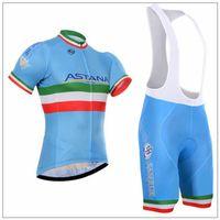 astana sleeves - Newest Astana Blue Cycling Jerseys Short Sleeves Cycling Tops Bib None Bib Pants Fit For Men Women Size XS Xl Bike Wear Suit