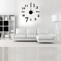 Wholesale Simple Fashion Digits Black English Character DIY Mirror Effect Wall Clock Removable Acrylic Glass Decal Set for Home Decoration