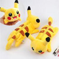 Wholesale Japanese Poke Go Plush Pencil Bags Pocket Monster Pikachu Children s Pen Bag Female Cartoon Makeup Bag