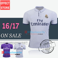 Wholesale Thai Quality Real madrid soccer Jersey Cristiano RONALDO home white Purple JAMES BALE RAMOS Third Black goalkeeper football shirt