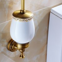 bathroom accessories set brown - European Style Antique Brass Toilet Brush Holder Wall Mounted Bathroom Brush Holder Set Bathroom Accessories