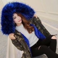 Wholesale Winter Parkas Women Faux Fur Coat Camouflage Jacket Outwear Clothes Brand Clothing Snow Tops Outdoor Large Fur Collar L XL Fashionable