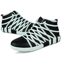 Wholesale Cool Fashion Stylish Leather Skateboard Shoes Mens High Tops Hip Hop Rocky Shoes Sneakers Fitness Gym Sport Shoes With Weaving Sewing Bands