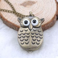 active digital watches - Unique Antique Fashion Alloy Vivid Owl Pocket Watch Pendent Necklace Chain Vine Fob Watch Active Wings Clock