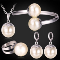 Wholesale Beads Pearls Pendant Necklace Bangle Earrings Ring Set For Women Wedding Accessories K Real Gold Plated Jewelry Sets PEHR1215