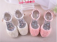 Wholesale 2016 New Shiny Pearls Kids Wedding Party Girls Shoe Summer Sandals Girls Princess Shoes Children s High Heels