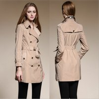 best womens winter coat - 2016 Top Fashion Silk Antiwrinkling Womens Trench Coat Autumn Winter High End Quality Ladies Clothing Best Selling Khaki Pink Black BC1158