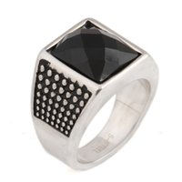 atmospheric mix - High end atmospheric grade men s cool big ring Fashion Punk Gothic Black Agate Stainless Steel Men Rings