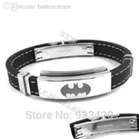 Wholesale Classic Batman Bracelet Stainless Steel Jewelry Black Rubber Motor Biker Bracelet SJB0221B