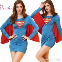 adult woman long costume - Adult Superhero Superwoman Cosplay Costumes Sexy Long Sleeve Tight Dresses with Cape Halloween Fancy Ball Role playing Game Apparel