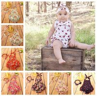 Wholesale 60Designs Baby Rompers With Bow Headbands Flower Printing Toddlers Sleeveless Onesies Newborn Backless Tutu Outfits Headbands Baby Bellyband