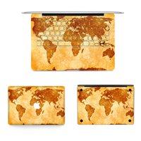 Wholesale 10 Patterns Laptop Vinyl Decal ACD Side Full Sticker World Map Print White Black Marble Skin for Macbook Air Pro Retina