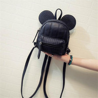 Wholesale 2016 HOT Lovely Cartoon Micky Ears Mini Backpack Simple Threads Leather Backpack Fashion Portable Phone Bag Girls Casual School Bag Mochila