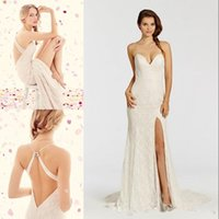 alvina valenta wedding - Hot Sale Lace Sheath Wedding Halter Backless Wedding Dresse Split Side Sweep Train Applique Alvina Valenta Cheap Bridal Gowns