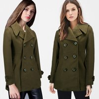 Wholesale Winter Casual Woolen Coat Lapel Neck Wool Blends Colors S XL Double Breasted Outerwear Natural Color