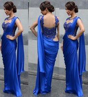 backless saree - 2016 Hot Sale Evening Dresses Mermaid Indian Saree Lace Royal Blue Chffon Prom Dresses Sheer Sleeveless Satin Charming Formal Party Gowns DZ