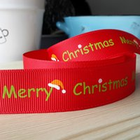 Wholesale Grosgrain Ribbon inch mm Fashion Christmas Snowflake Print Letters Hats Hair Clip Headbands Ribbon yds roll Webbing