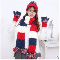 Wholesale Hats Scarves Gloves Sets Christmas birthday gift lovely winter wool hat fashion girls multicolored tie scarves gloves three piece set DHL