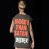 Wholesale 2016 Summer Men Sleeveless T Shirt Justin Bieber Tees Vest Gray Letters Print Tank Top Sport Garment LGF0609