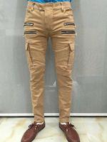 Wholesale 2016 Slim Low Softener Hot Sale New Winter Balmai Jeans Men Punk Style Cotton Stretch Double Zipper Side Pocket Moto Three Color