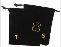 bear pouches - black high grade velvet bag The bear jewellery bags flannelette bag with logo jewellery pouch size