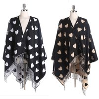 Wholesale Womens winter poncho vintage blanket ladys cashmere like shawl with tassels fringed warm cozy scarf with heart shape design