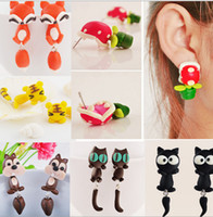 african rabbit - MIx style Handmade Polymer Clay Animal Stud Earrings Cute cartoon Cat Rabbit Red Fox Lovely Panda Squirrel Tiger Stud Jewelry
