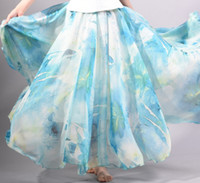 address printing - Long Skirt Girl s Clothing Woman Address Skirts Fashion Chiffon Printing cms Long A style Skirt Layers chiffon fabric