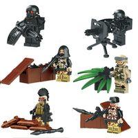 battle gun toys - LELE Military Serie Camouflage Barrier Gun Battle Army Minifigure Building Block Sets Bricks Toys Compatible With Decool