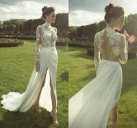 Wholesale Bohemian Lace Ester Arabic Beach Wedding Dresses High Neck Long Sleeves Backless Sheath Split Side Chiffon Sexy Summer Bridal Gowns