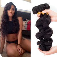 High Quality Virgin Peruvian Hair Weave Extensions de cheveux humains 8 '' - 28''Loose Wave 3Pcs / Lot Naturel Noir peut être Teints cheveux extensions Weve Remy