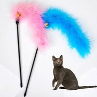 Wholesale 1Pcs Fun Pet Cat Play Toy Kitten Length Interactive Teaser Wand Feather Interactive Fun Toy Cat Teaser Wand Pet Feather for Pet