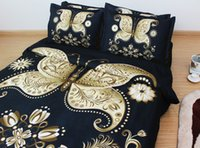 Wholesale JF Home textiles Black and golden butterfly D bedding sets king size white flower duvet cover bedclothes
