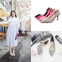 air pump shoes - Factory direct side air breathable suede shallow mouth single shoes women low to help the new trend of high heeled shoes with pointed fine