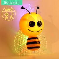 bee sensor - LED Bee Fairy Sensor Night Light Bed Lamp Auto Switch For Children With Photoresistance Home Colorful and Lovely