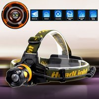 Wholesale Super Bright LM Cree XML XM L T6 LED mode Rechargeable Zoomable Waterproof Camping Hunting Headlamp Headlight Head Torch Lamp