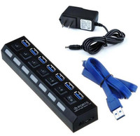 Wholesale Brand New Ports USB Hub with On Off Switch US AC Power Adapter for Androi PC Laptop Black