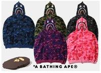 full zip hoodie - 2016 Top Quality Loves Shark Hoodie Autumn and Winter Full Zip Hoodie Camouflage Fleece Cardigan Cartoon Sweatshirts jackets