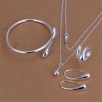 Wholesale Wedding Jewelry Set Stering Silver Jewelry Sets Silver Water Drop Bangles Bracelets Pendant Necklace Finger Rings Earrings For women
